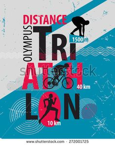Triathlon. Poster- triathlon increased complexity. - stock photo