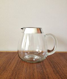 Dorothy Thorpe Silver Rim Glass Pitcher by vintage19something, $58.00