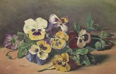 antique Victorian Sunday pansies floral oil-