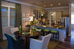 Smart placement kitchen dining room layout ideas - home buil Kitchen Dining Combo, Living Room Kitchen, Home Decor Kitchen, Home Kitchens, Cozy Kitchen, Mini Kitchen, Open Kitchen, Kitchen Colors, Kitchen Layout