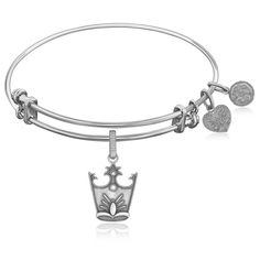 Expandable Bangle in White Tone Brass with Glinda Crown Symbol