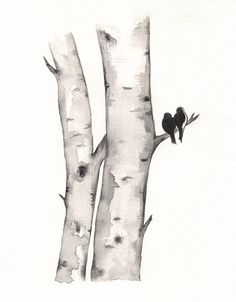 Birch Tree Love No. 1 / Love Birds / Romance / watercolor print / grey / black and white / Archival. $20.00, via Etsy.