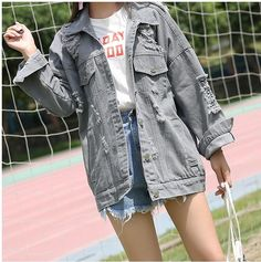 98c41b9d8d06 F110  Wholesale Fashion Clothing 2017 Fall Washed Casual Grey Women Denim  Jacket Coat For Stock