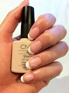 CND Shellac French Manicure - Beau and Cream Puff with white diamante flower nail art stickers.