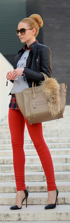 Fall / winter - street & chic style - red skinnies + plaid shirt + gray hoodie + black leather jacket + black heels