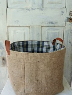 Upcycled Mama Abby baskets. Made from rugged burlap coffee sack with leather straps. by 5th Season. $48.