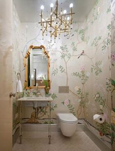 Chinoiserie Chic: The Chinoiserie Powder Room (do I pin this on my Wallpaper board, my Bathroom board, or my Great Light Fixtures board?)
