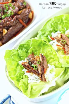 Korean BBQ or Bulgogi Lettuce wraps- Beef in a sweet marinade served on lettuce. Gluten Free Recipes For Dinner, Allergy Free Recipes, Delicious Dinner Recipes, Paleo Recipes, Asian Recipes, Make Ahead Meals, Easy Meals, Clean Eating Recipes, Healthy Eating