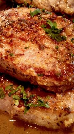 Sautéed Pork Chops with lemon garlic sauce. This recipe is wonderful! My go to pork chop recipe. The sauce takes this to the next level Pork Chop Recipes, Meat Recipes, Dinner Recipes, Cooking Recipes, Recipies, Lamb Recipes, Yummy Recipes, Chicken Recipes, Pork Ham