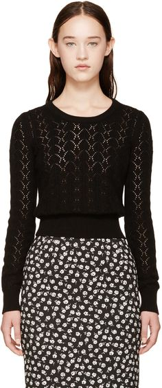 Dolce & Gabbana Black Lattice Cashmere Sweater