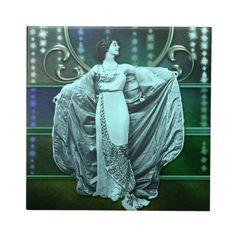 Zohara: Art Deco Woman in Aqua & Green Ceramic Tile Art Deco Tiles, Sparkling Stars, Aqua, Teal, Turquoise, Rainbow Glass, Vintage Glamour, Office Gifts, Wedding Colors