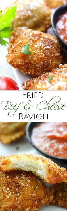 Like Olive Garden's toasted ravioli, but better! This crispy fried ravioli is easy to make, yet impressive. Perfect for a party, or the family dinner table Dinner Dishes, Pasta Dishes, Dinner Table, Beef Recipes, Italian Recipes, Cooking Recipes, Recipies, Appetizer Recipes, Dinner Recipes