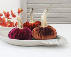 Three Small Velvet Pumpkins Autumn Decor by BailiwickStudio