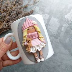 Clay Crafts, Diy And Crafts, Clay Mugs, Cup Design, Cold Porcelain, Creative Crafts, Clay Art, Cute Cats, Fondant