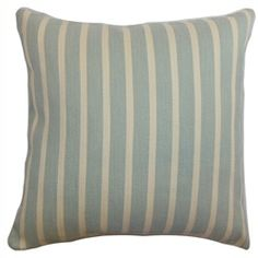 This stripes throw pillow is casual and cool. This is a perfect decor piece to add in your sofa, love seats or bed. The light denim color of this accent pillow makes a great background for the white vertical stripes. Combine this with bold-colored contemporary or coastal pillows for a vibrant decor style. The materials used in creating this square pillow is made from 70% cotton and 30% polyester. $55.00   #stripes  #pillows  #tosspillow