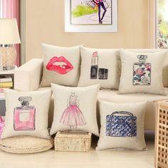 New Vogue Cotton Linen Pillow Cover Case Red Lip Print Car Sofa Home Hotel Decor #Unbranded #Jacquard