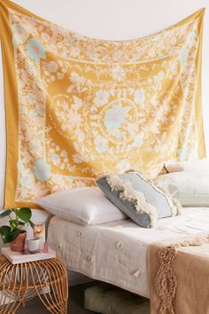 Check out Kimset Folk Floral Tapestry from Urban Outfitters Spring Bedroom, Chic Bedroom Design, Wall Tapestry, Spring Bedroom Decor, Tapestry, Shabby Chic Bedroom, Bedroom Decor, Yellow Bedroom, Tapestry Bedroom
