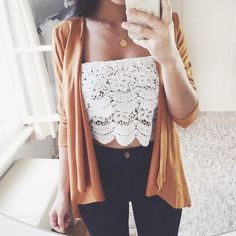 Beautiful laced off the shoulder crop Flirty cropped off the shoulders top! Beautiful laced all over the front   Size medium! Tops Crop Tops