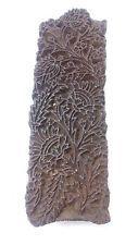 vintage deep inlay hand carved small leaf buds textile printing block/stamp