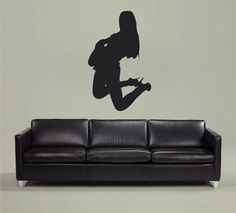 ik2606 Wall Decal Sticker sexy girl with rock guitar heavy lounge music store