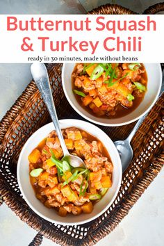 The easy chili is made with a combination of ground turkey, butternut squash, tomatoes, peppers, and spices. Made without beans but you could always add them! Healthy Meals For One, Healthy Eating Recipes, Healthy Cooking, Healthy Dinners, Healthy Food, Ground Turkey Chili, Ground Turkey Recipes, Butternut Squash Chili, Butternut Soup