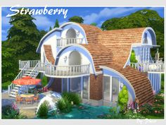 Strawberry house No CC by philo at TSR via Sims 4 Updates
