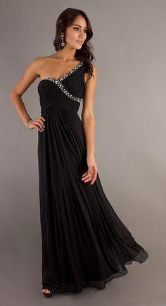 c012709a1ba8 Chiffon Flowy Long Black Semi Formal Dress One Strap Empire Waist Prom  Dresses 2015, Long