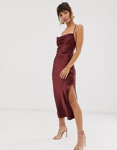 Shop ASOS DESIGN cami midi slip dress in high shine satin with lace up back. With a variety of delivery, payment and return options available, shopping with ASOS is easy and secure. Shop with ASOS today. Asos, Black Slip Dress, Midi Dress With Slit, Satin Slip, Going Out Dresses, Smock Dress, Moda Online, Latest Dress, Mi Long