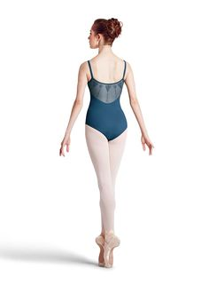 Bloch L8650 Diamond Embroidered Back with Front Mesh Camisole Leotard
