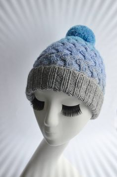 124917cd732 Women blue hat with Pom pom knit hat Wool hat Warm cable knit hat Bobble hat  Pom pom knit hat