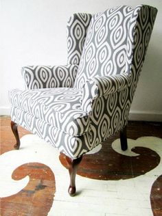 graphic print wing back chair