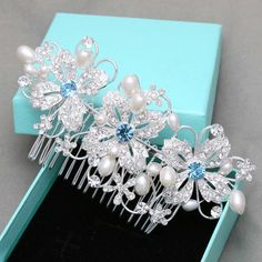 Blue Hair Comb Wedding Hair Comb Flower Wedding by BlingGarden