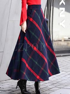 Skirts | Skirts | Vintage Color-blocked Plaid Thick Woolen Skirt