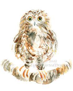 Owl Art, Bird Watercolor, kid's wall art, Woodland Animal, woodland art, boys nursery, woodland decor - Clever Puff