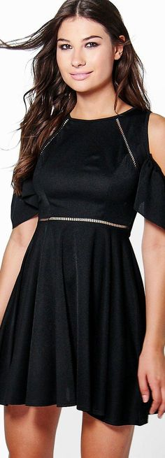Em Cold Shoulder Ladder Trim Skater Dress - Dresses  - Street Style, Fashion Looks And Outfit Ideas For Spring And Summer 2017