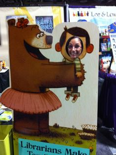Love the idea of cut-outs for child's face in a book-related prop.