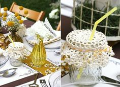 Doily! Mason jar! Love!