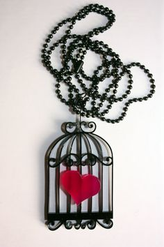 Lasercut acrylic necklace with bird cage and heart by MissPlxy, €10.00