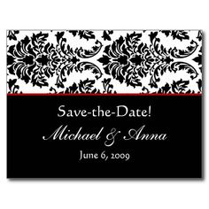 Customized Baroque Black & Red Save The Date Postcards