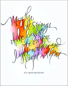 Giveaway: Calligraphy from Julie Wildman Designs Calligraphy R, Rainbow Palette, Creative Lettering, Lettering Art, Sumi Ink, Irish Blessing, Art Graphique, Watercolor Art, Drawings