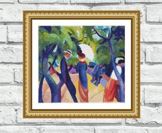 "Very colourful and modern counted cross stitch pattern of painting ""Promenade"", beautiful artwork from August Macke. These vibrant and cheerful pattern looks especially attractive when viewed from a distance and not difficult to stitch! Perfect for modern interiors and any room in your home including living rooms, kids rooms and bedrooms. 6,99$"