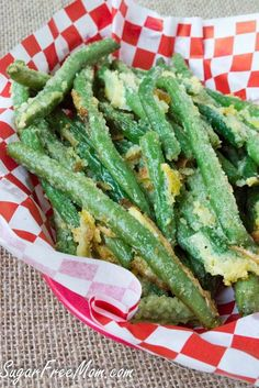 Oven Fried Garlic Parmesan Green Beans Shared on https://www.facebook.com/LowCarbZen #LowCarb #SideDish #Veggies
