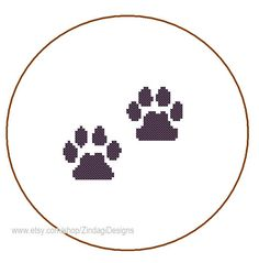 Instant Download cute Cross Stitch Pattern cat by ZindagiDesigns, $1.80 animal paw print
