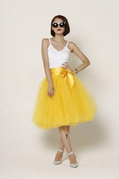 Tulle Skirt Tea length Knee length Tutu Skirt by Sophiaclothing