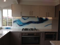 Custom made printed glass splash back created and installed by Seein. Kitchen Pantry, Kitchen Ideas, Kitchen Cabinets, Kitchen Backsplash, Printed Glass Splashbacks, Glass Installation, Kitchen Remodel, Home Improvement, Epoxy