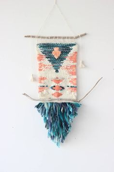 Weaving DIY project inspired by Native American pattern. Use branches & strips of recycled fabric.