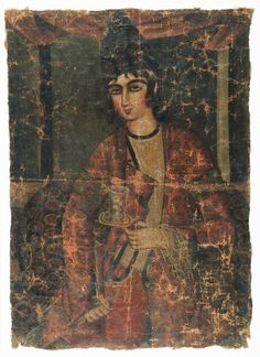 Medium: Oil paint on cotton primed with red. Dates: 19th Century Dynasty: Qajar Period: Qajar Dimensions: 16 1/2 x 23 in. (41.9 x 58.4 cm)  (show scale) Collections:Arts of the Islamic World