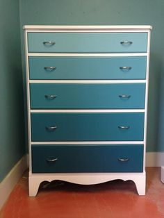 Now available!!  $300.  Refinished with a commercial grade lacquer.  Pure white housing and the ombre look with teal.http://www.shellysdressers.com/whiteteal-ombre-5-drawer-dresser.html