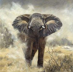 Northern Ranger 59 x 59 inches, by Karen Laurence-Rowe, donated to a charity auction to support anti-poaching  rangers. Noble gesture and beautiful piece, although some of her work  I prefer- but they're not pinnable.