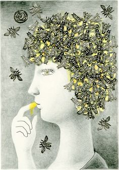 Bee head.  Art by Natsuo Ikegami.    http://www.etsy.com/listing/91632187/limited-edition-print-a4-size-honey-bees?utm_source=Facebook_medium=Internal_campaign=Merch